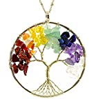 "Tree of Life Wire Wrap 7 Chakra Gemstone Necklace on 30"" Chain"
