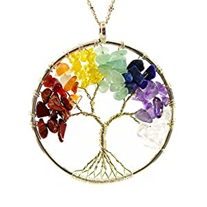 BOUTIQUELOVIN Tree of Life Wire Wrap 7 Chakra Gemstone Pendant Necklace on 30″ Chain