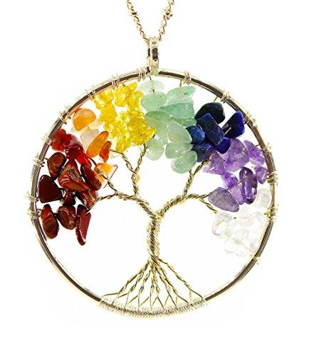 BOUTIQUELOVIN Tree of Life Wire Wrap 7 Chakra Gemstone Pendant Necklace on 30 Chain
