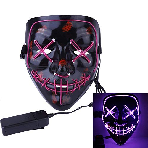 Fit Design Halloween Mask LED Light up Purge Mask for Festival Cosplay Halloween Costume (Purple EL Wire) ()