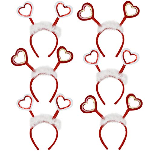 Valentines Day Heart Sequin Headband and Faux Fur, 6 pack 2 Designs Women, Girl, Kids Head Hair Accessories Costume Valentine Red Plastic Heart Headband Headbopper Novelty Pack Decoration Party Accessory