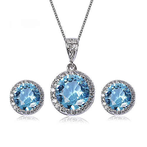(AMYJANE Crystal Jewelry Set for Women - Sterling Silver Round Aquamarine Cubic Zirconia Bridal Pendant Necklace Earrings Set for Wedding Bride Bridesmaids Birthstone Jewelry Sets)