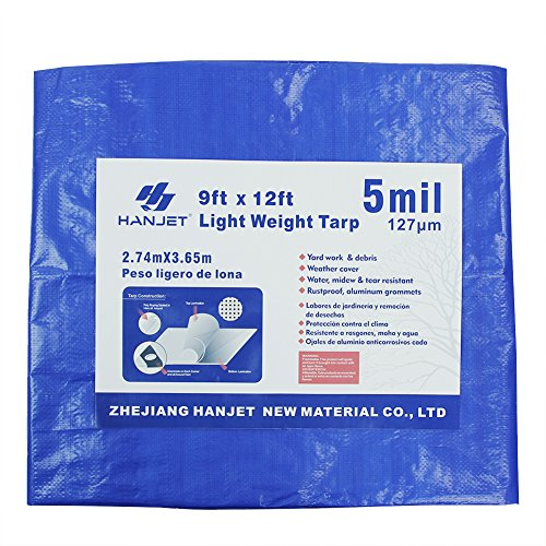 Lightweight Outdoor Tarp Tarpaulins Hanjet 9' x 12' 5-mil Thick Blue Tarps with Handles Waterproof