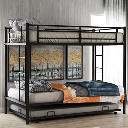 Harper Bright Designs Metal Twin Over Twin Bunk Beds with Trundle Bed Twin Bunk Beds for Kids No Box Spring Required Black Twin Bunk with Trundle
