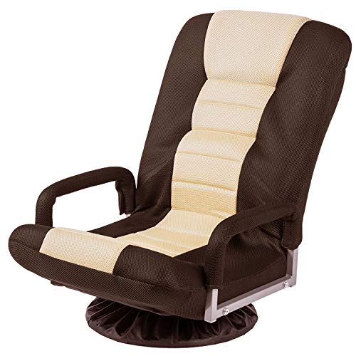 Floor Gaming Chair Adjustable 7-Position Swivel Chair Folding Sofa Lounger, Brown+Beige