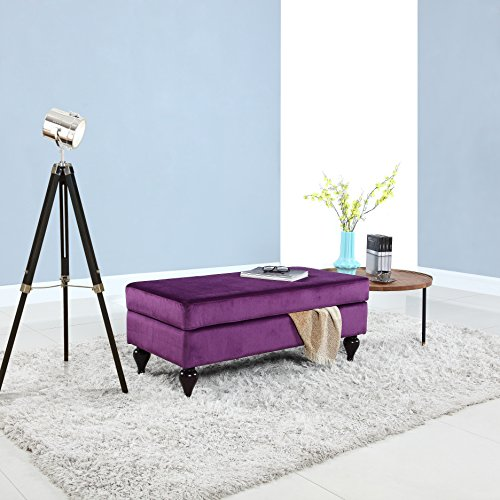 Classic large velvet rectangular storage ottoman bench purple Purple storage bench