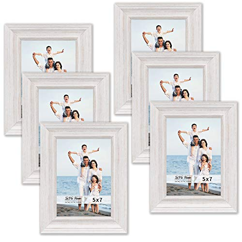 (LaVie Home 5x7 Picture Frames (6 Pack, White Wood Grain) Rustic Photo Frame Set with High Definition Glass for Wall Mount & Table Top Display)