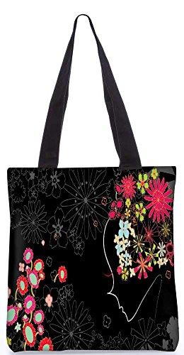 """Snoogg Blumenmädchen - Einkaufstasche 13,5 X 15 In """"Shopping - Dienstprogramm Tragetasche Aus Polyester Canvas"""