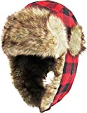 KBW-604 RED-BLK Buffalo Plaid Aviator Trooper Trapper Hat Winter Cap