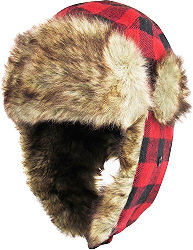 KBW-604 RED-BLK Buffalo Plaid Aviator Trooper Trapper Hat