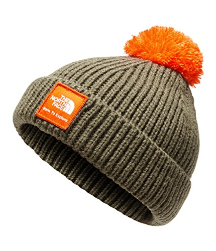 - The North Face Baby Box Logo Pom Beanie - New Taupe Green & Persian Orange - XS
