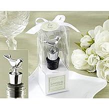 96PC 11062NA Lovebirds Chrome Bottle Stopper Wedding Barware Dove Favor Wedding