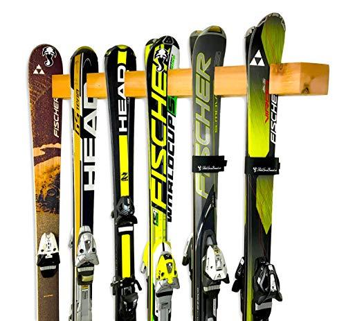 StoreYourBoard Handcrafted Ski Storage Rack, Holds 6 Pairs, Cedar Wood Ski Display