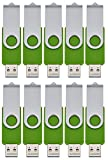 256MB Memory Stick USB 2.0 Flash Drive 10 Pack Pendrives Small Capacity Bulk Thumb Drives Swivel Green Pen Drive Portable Jump Drive U Disk by FEBNISCTE