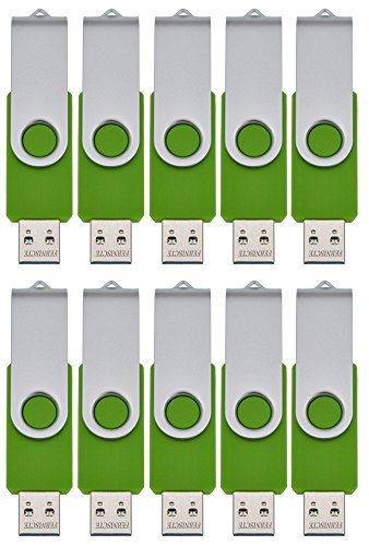 FEBNISCTE USB 2.0 Swivel Flash Drive Memory Stick Pendrive , 256MB, Green, Pack of 10