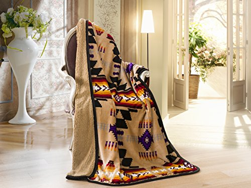 (Southwest Design (Navajo Print) Sherpa Lined Throw 16112 Camel (tan))