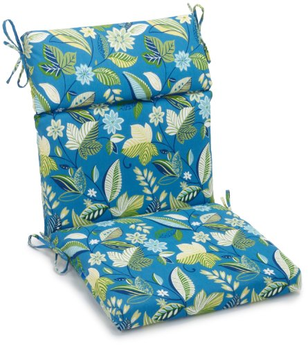 Blazing Needles Indoor/Outdoor Spun Poly 22-Inch by 45-Inch by 3-1/2-Inch 3-Section Chair Cushion, Skyworks Caribbean (Wicker Furniture Settee)