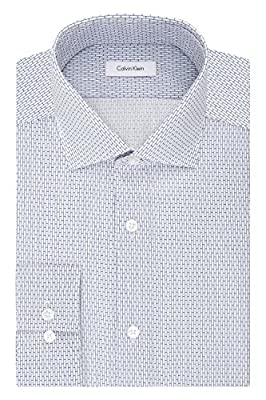 Calvin Klein Men's Non Iron Slim Fit Block Print Spread Collar Dress Shirt