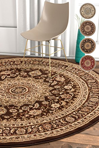 Rug Brown Round Oriental (Well Woven Sultan Medallion Brown Oriental 5 Round (5'3