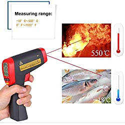 Jklnm Non Contact IR Infrared Thermometer Digital -18C~550?/0F~1022F with Temperature Alarm Function Instant-Read Adjustable Emissivity for Cooking Food Kitchen Oven Industry Etc.