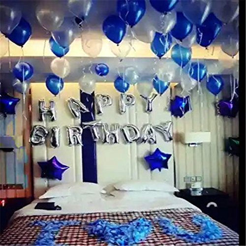 100pcs 12-inch 2.8g Pearl Latex Balloons Round Thickening Balloons for party decoration wedding balaos ( Light Blue& (Blue And Purple Balloons)