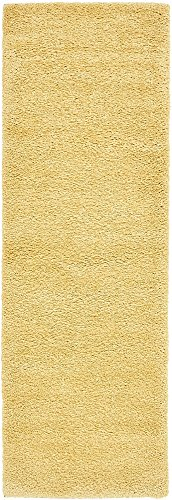 Unique Loom Solo Collection Solid Plush Kids Yellow Runner Rug (2' 2 x 6' 7) (Runner Carpet Yellow)