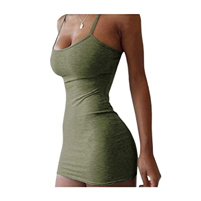 Qianshan Maomo Women Summer Dresses Sexy Spaghetti Strap Mini Bodycon Dress: Clothing