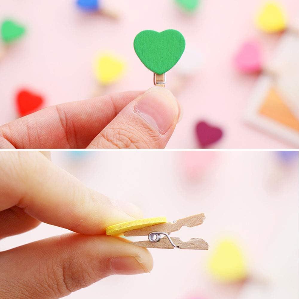 Kitchen-dream Pinzas de Madera colores150piezas Mini Clips de Fotos con 30m Cable de Yute 30 Piezas Clavos sin Rastro Clips artesanales de Madera para Fotos Papel Tarjetas Ropa decoraci/ón