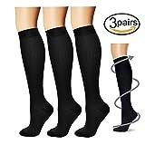 Compression Socks,(3 pairs) Compression Sock for Women & Men - Best For Running, Athletic Sports, Crossfit, Flight Travel - Suits Nurses, Maternity Pregnancy, Shin Splints - Below Knee High