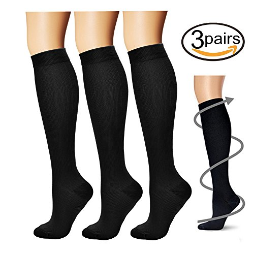 Compression Socks,(3 pairs) Compression Sock for Women & Men - Best For Running, Athletic Sports, Crossfit, Flight Travel (Compression Running Sport Socks)
