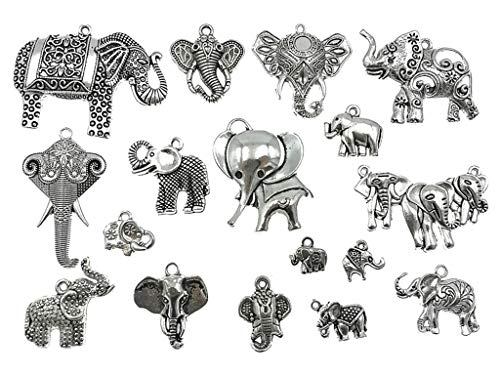 Kinteshun Assorted Elephant Charm Pendant Connector for DIY Jewelry Making Accessaries(17pcs,Antique Silver Tone)