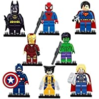 8 different Avengers & DC Superheroes mini figures