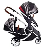 Kids Kargo Duellette 21 Bs Twin Double Pushchair Stroller Buggy with Tan Handle Pack (Oxford Stripe)