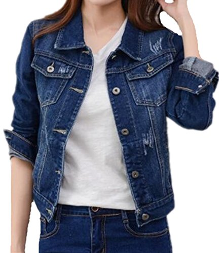 Coat Ailient Hooded Automne Dark Court Casual Bouton Femme Veste Denim Tops Blue Décontractée Outerwear Blousons Manteau 1wq1rPnI