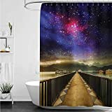 Hot Pink Ruffle Shower Curtain home1love Custom Shower Curtain,Universe Galaxy Cosmos Wooden Bridge Panoramic View Celestial Space Print,Shower Curtain bar,W55x84L,Pale Brown Purple Hot Pink