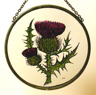 (Decorative Hand Painted Stained Glass Window Sun Catcher/Roundel in a Scottish Thistle Design.)