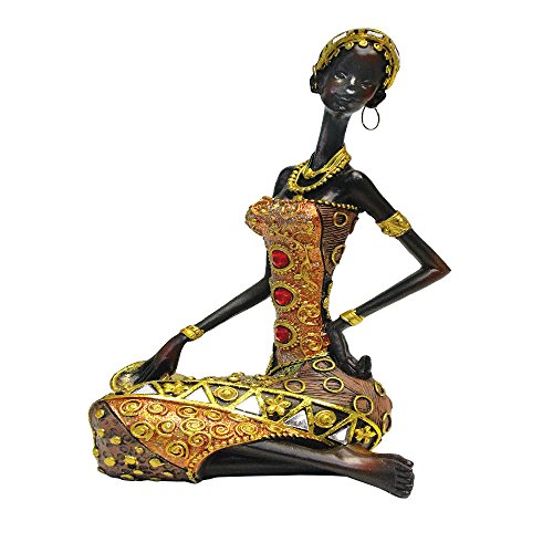 - African Figure Sculpture Tribal Lady Figurine Statue Decor Collectible Art Piece 9