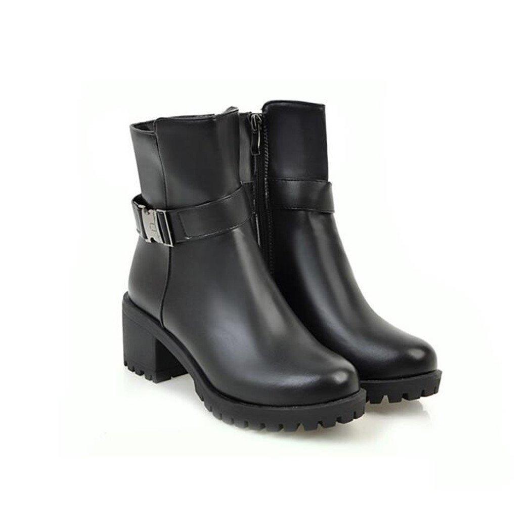 ZQ@QX Herbst und Winter Winter und runden Kopf wasserdicht Taiwan dick mit hochhackigen Schuhe Fashion Gürtel Schnalle Seite Reißverschluss kurze barrel Stiefel weibliche Stiefel schwarz 6a0188