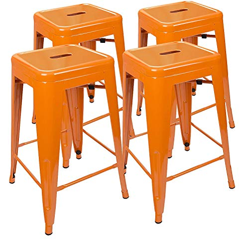 UrbanMod 24 Inch Bar Stools for Kitchen Counter Height, Indoor Outdoor Metal, Set of 4,Orange