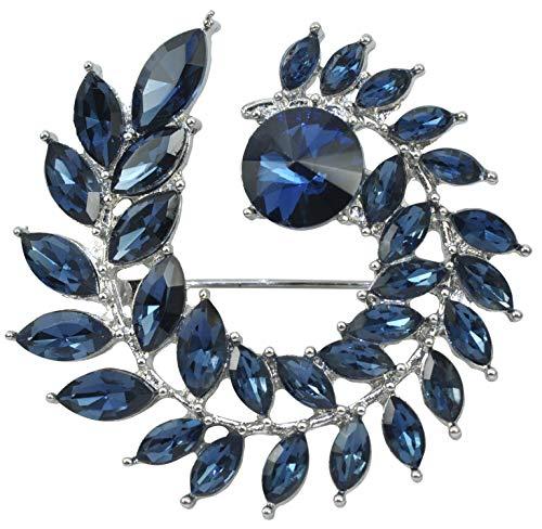 Gyn&Joy Women's Deep Sapphire Blue Crystal Circle Leaf Round Brooch Pin BZ204 ()