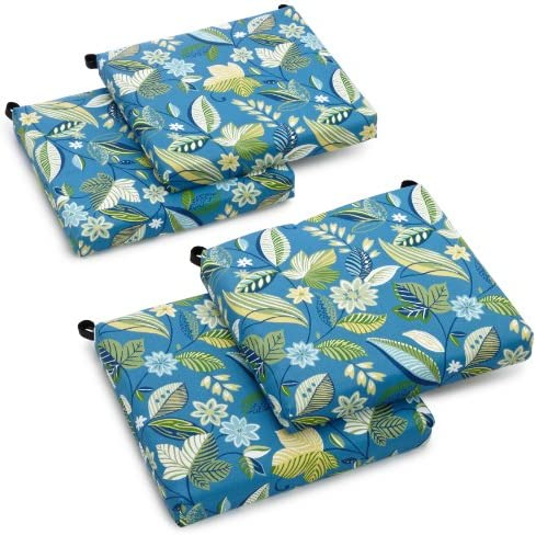 Blazing Needles Outdoor Spun Poly 19-Inch by 20-Inch by 3-1 2-Inch All Weather UV Resistant Zippered Cushions, Skyworks Caribbean, Set of 4