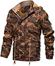 WOCACHI Mens Work Jackets Coat Hooded Thicken Velvet Military Outerwear Overcoat