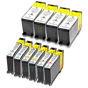 Compatible Lexmark 100XL 10-Set High Yield Ink Cartridges: 4 Black & 2 each of Cyan Magenta Yellow