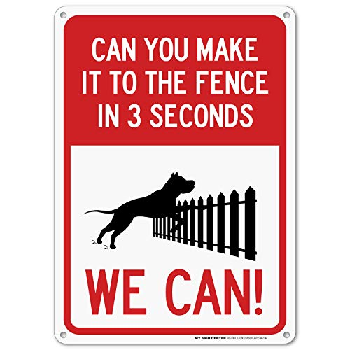 Funny Dog On Premises Sign, Outdoor Rust-Free Metal, 10