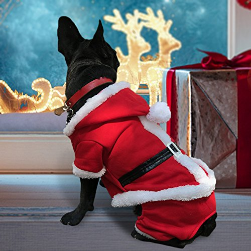PETLESO Dog Santa Costume - Puppy Dog Christmas Coat Doggie Santa Costume Outfit With a LED Flashing Dog Tag -