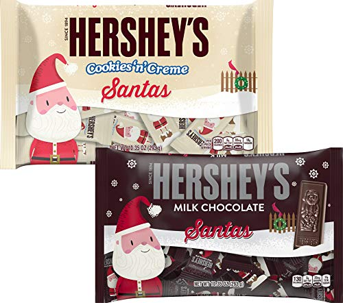Cookies and Cream & Milk Chocolate Santas Variety Pack - Holiday Christmas Candy Stocking Stuffer - Bulk Solid Christmas Assortment - 10.35 Ounce Bag (2 Pack) Xmas Candies For Home Office Work School
