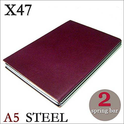 X47 STEEL 本革 A5 パープル 2本バー ドイツ製 ノートブック 無地方眼 ノートセット   B06XNJGZYT