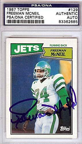 53b7395d5b8 Freeman McNeil Autographed 1987 Topps Card #129 New York Jets #83362685 -  PSA/