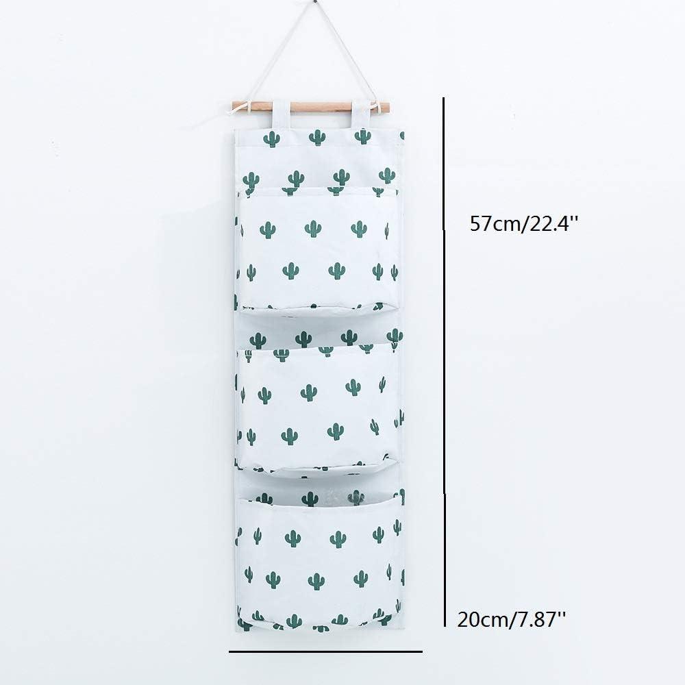 Cactus VEIREN Linen Organizer Pouch 3 Pockets Wall Door Closet ...