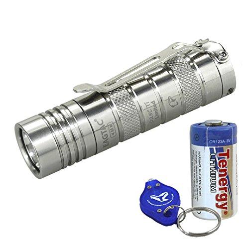 New Upgrade: EagleTac D25C Titanium (D25C Ti) Clicky - 521 LED Lumens Mini Cool White LED Flashlight with Battery and LumenTac Keychain Light